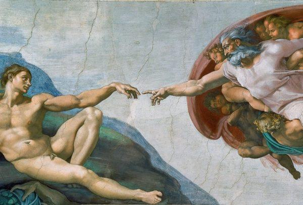 "Michelangelo, ""The Creation of Adam"" (crop)."