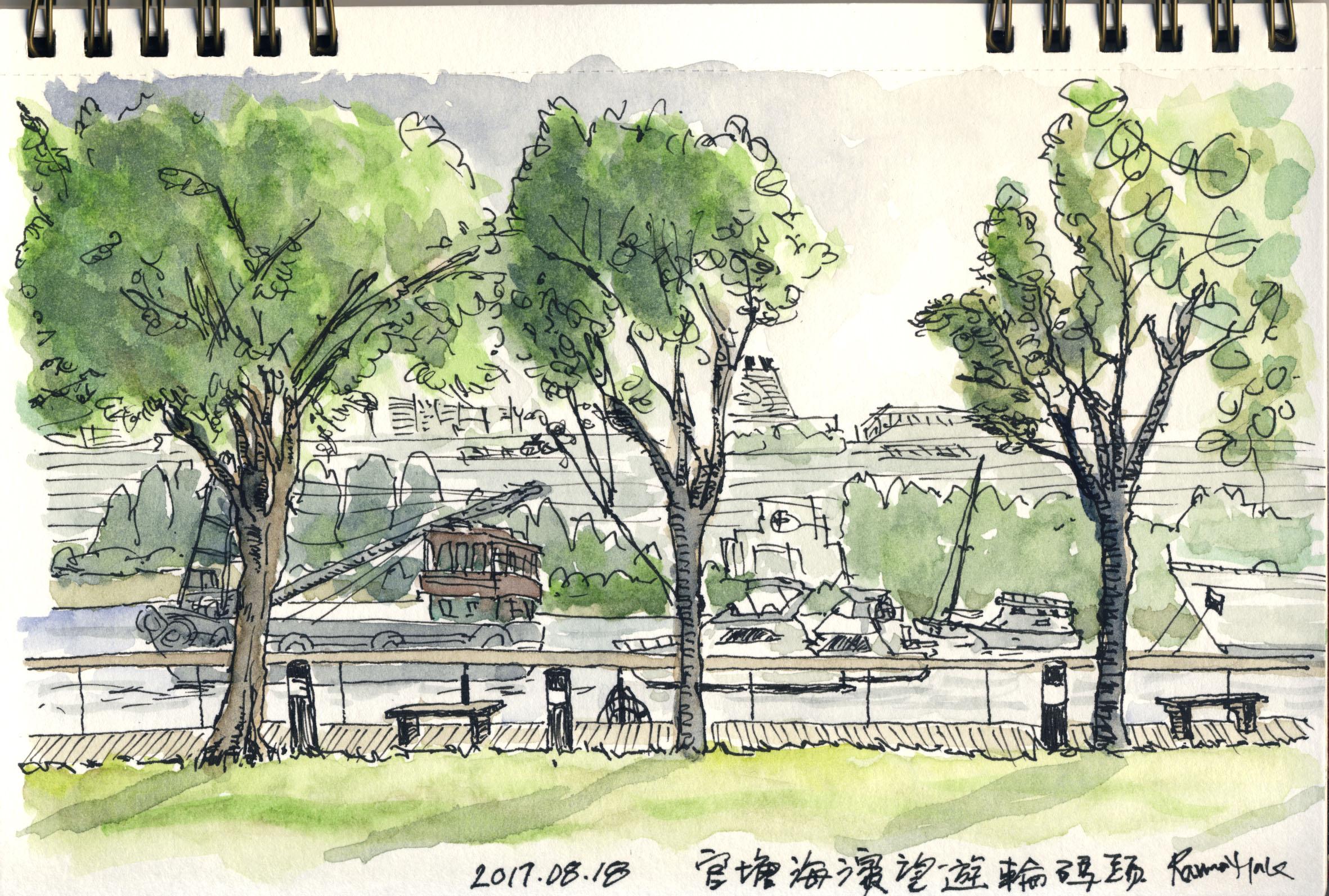 寫生:官塘海濱公園遠眺啓德郵輪碼頭