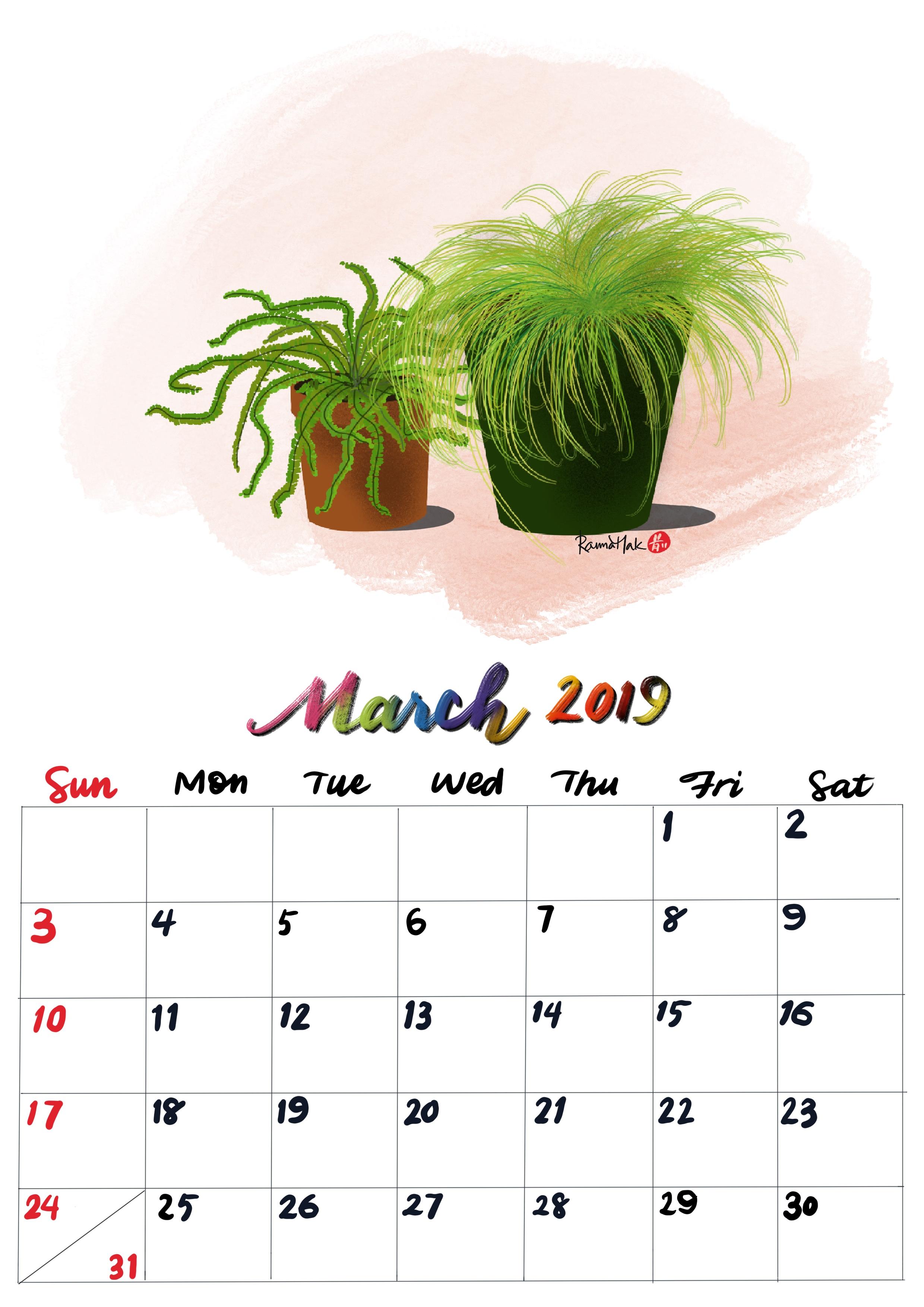 手繪月曆-2019年3月