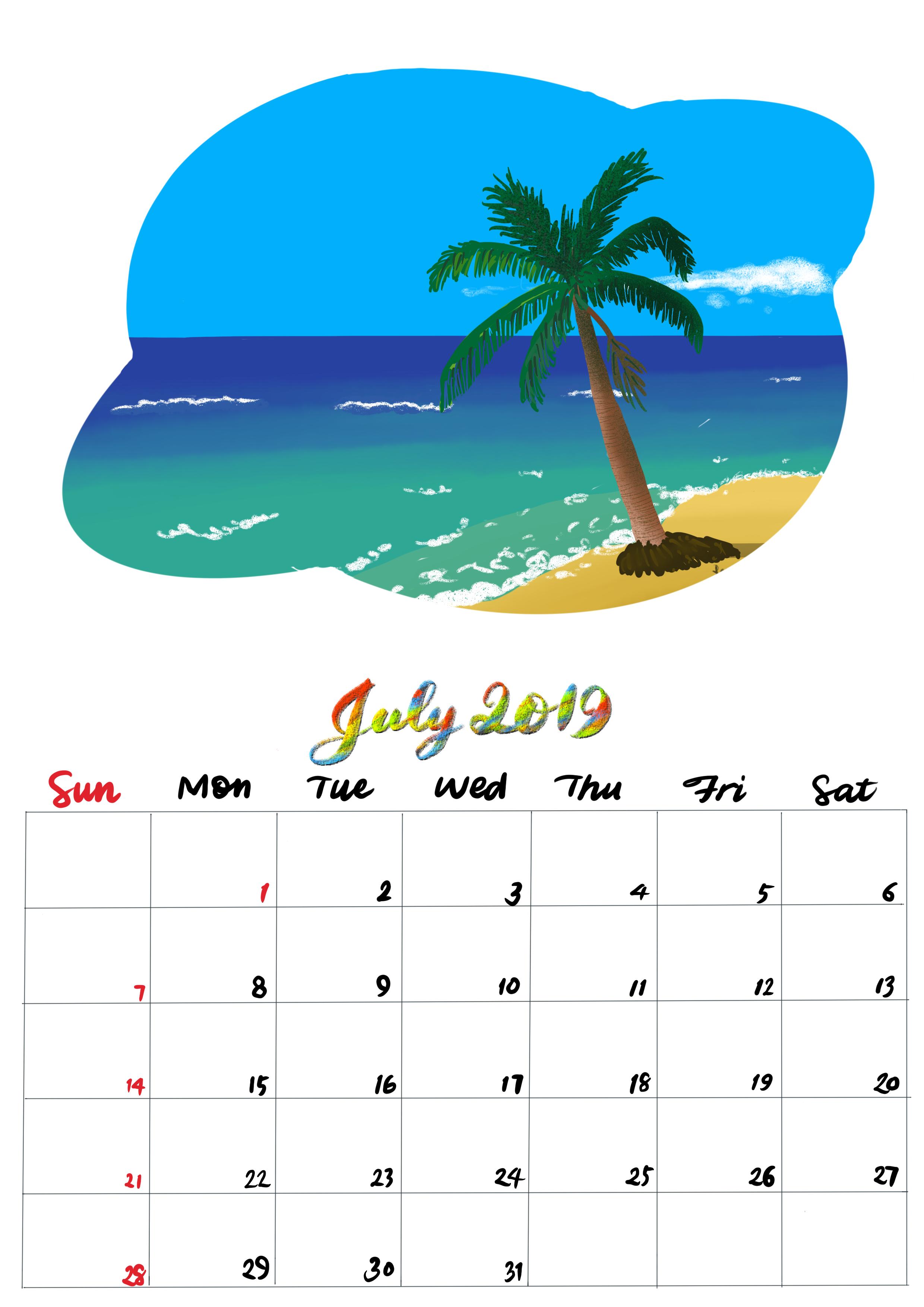 手繪月曆-2019年7月