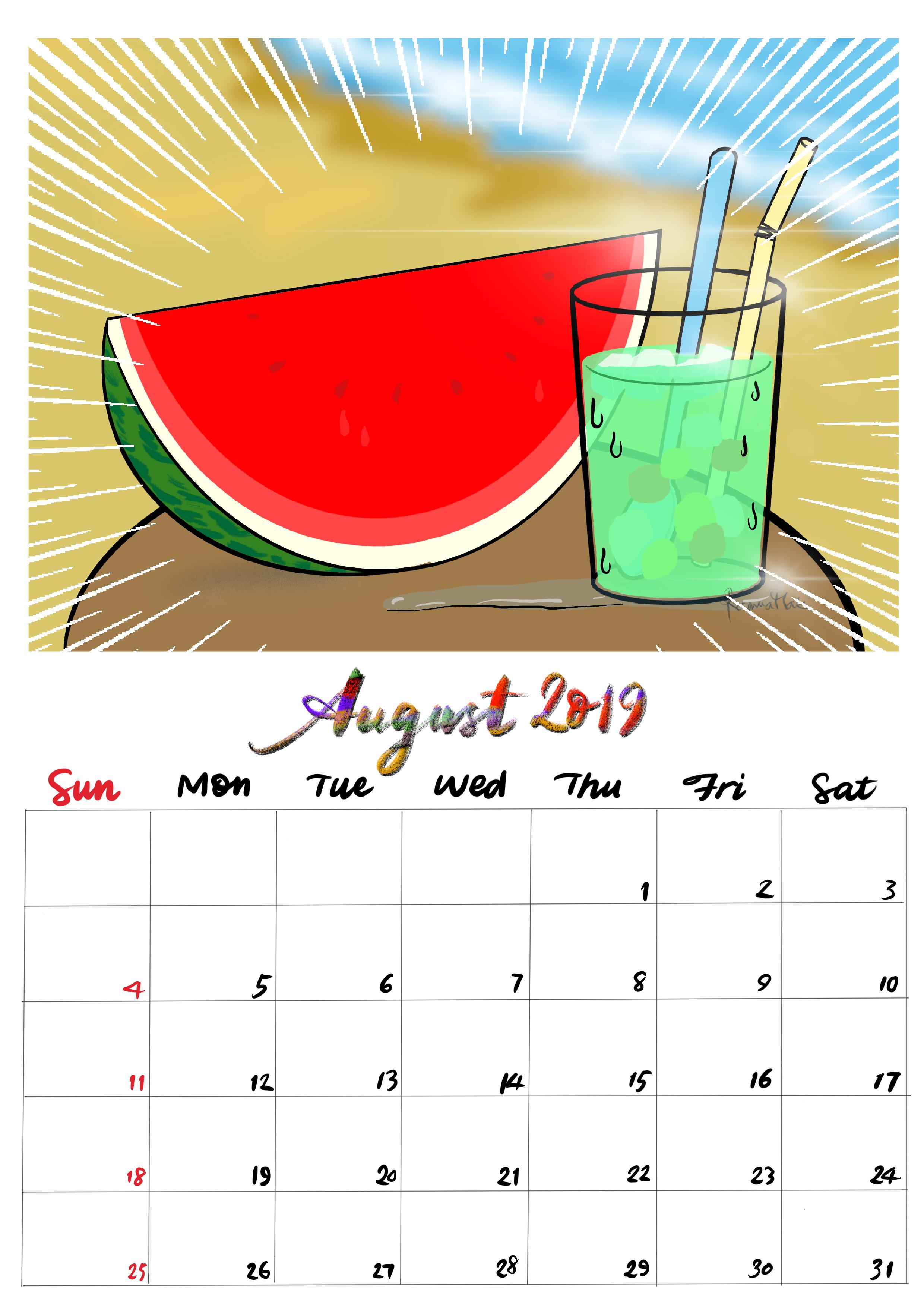 手繪月曆-2019年8月