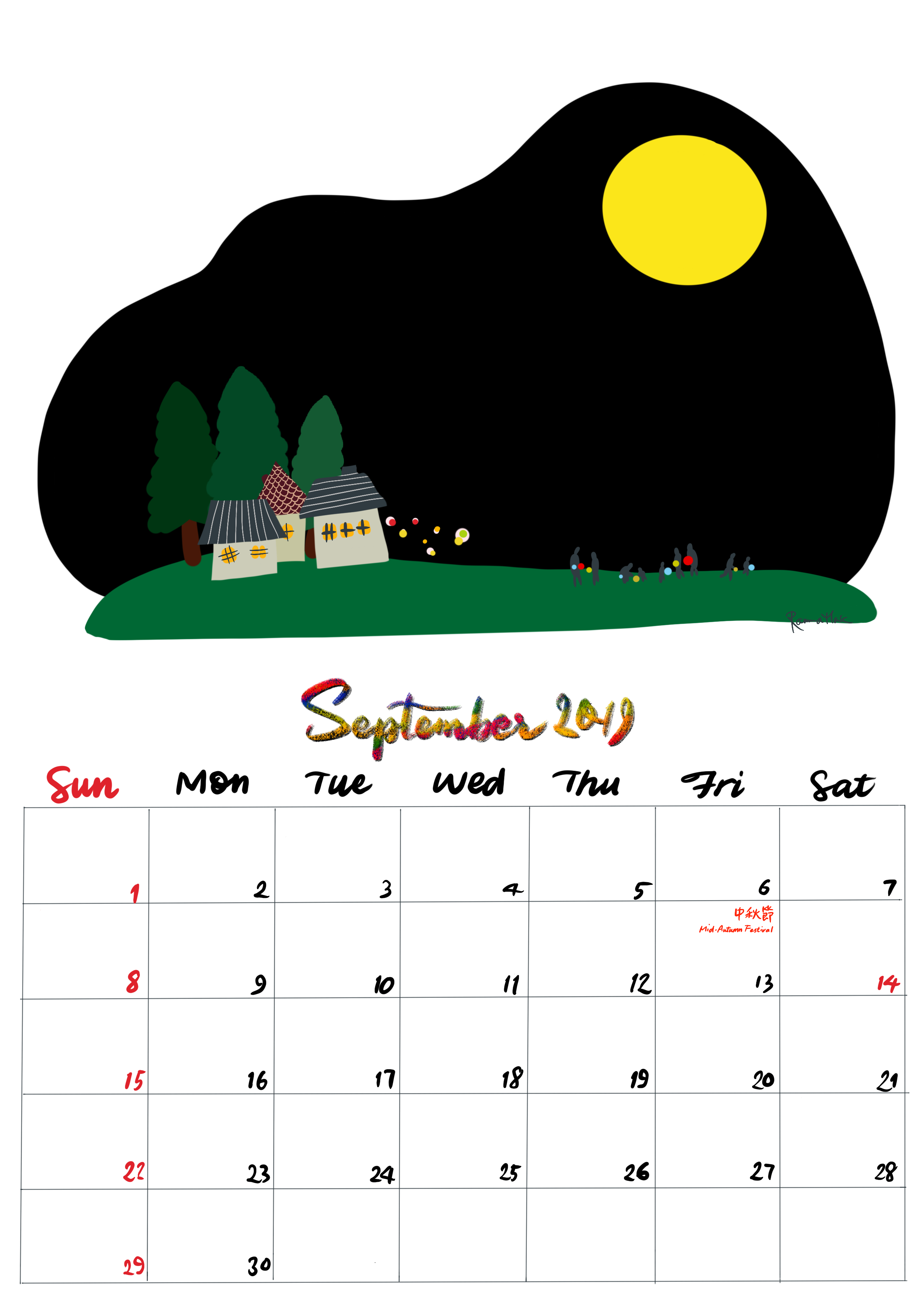手繪月曆-2019年9月