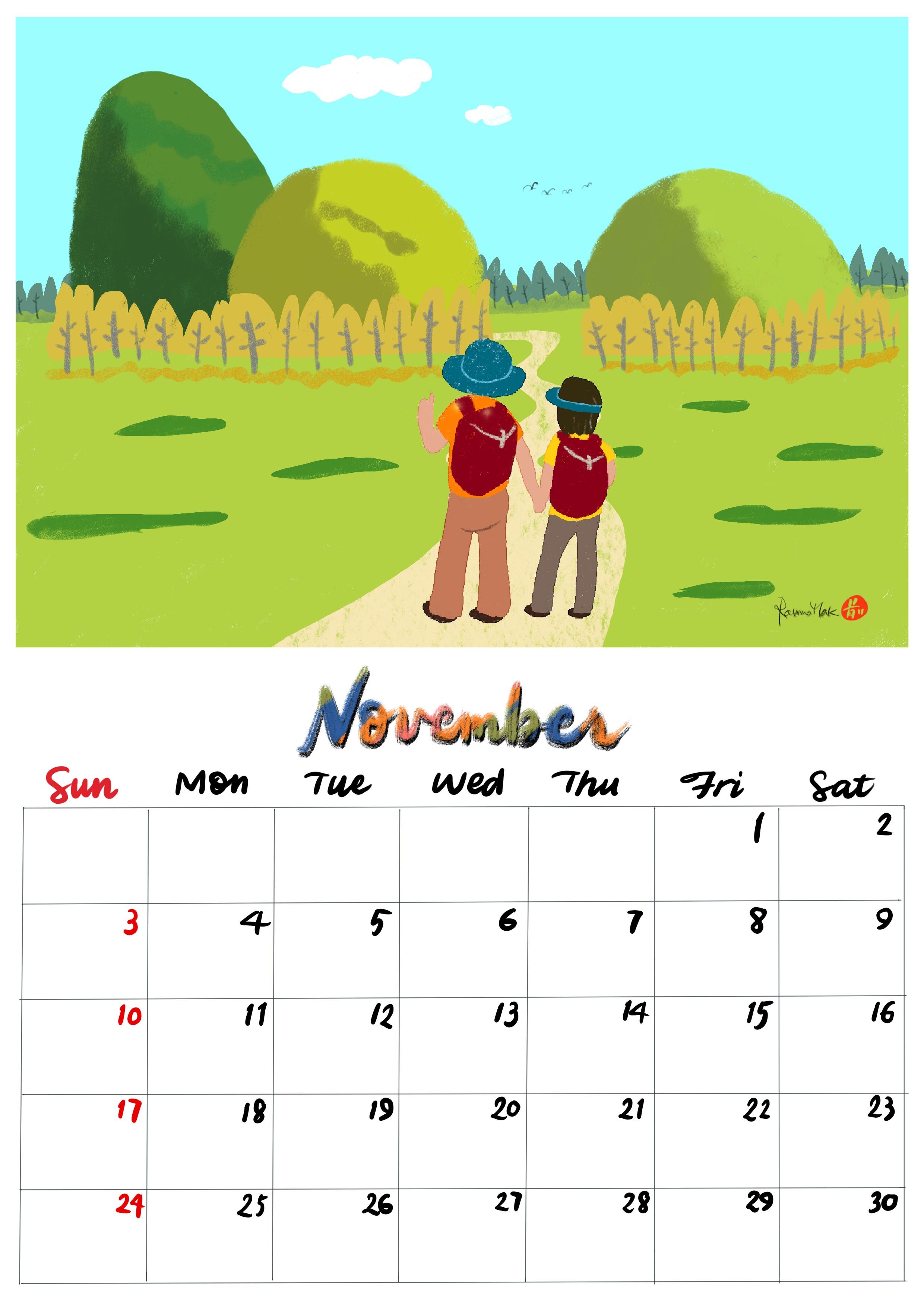 手繪月曆-2019年11月