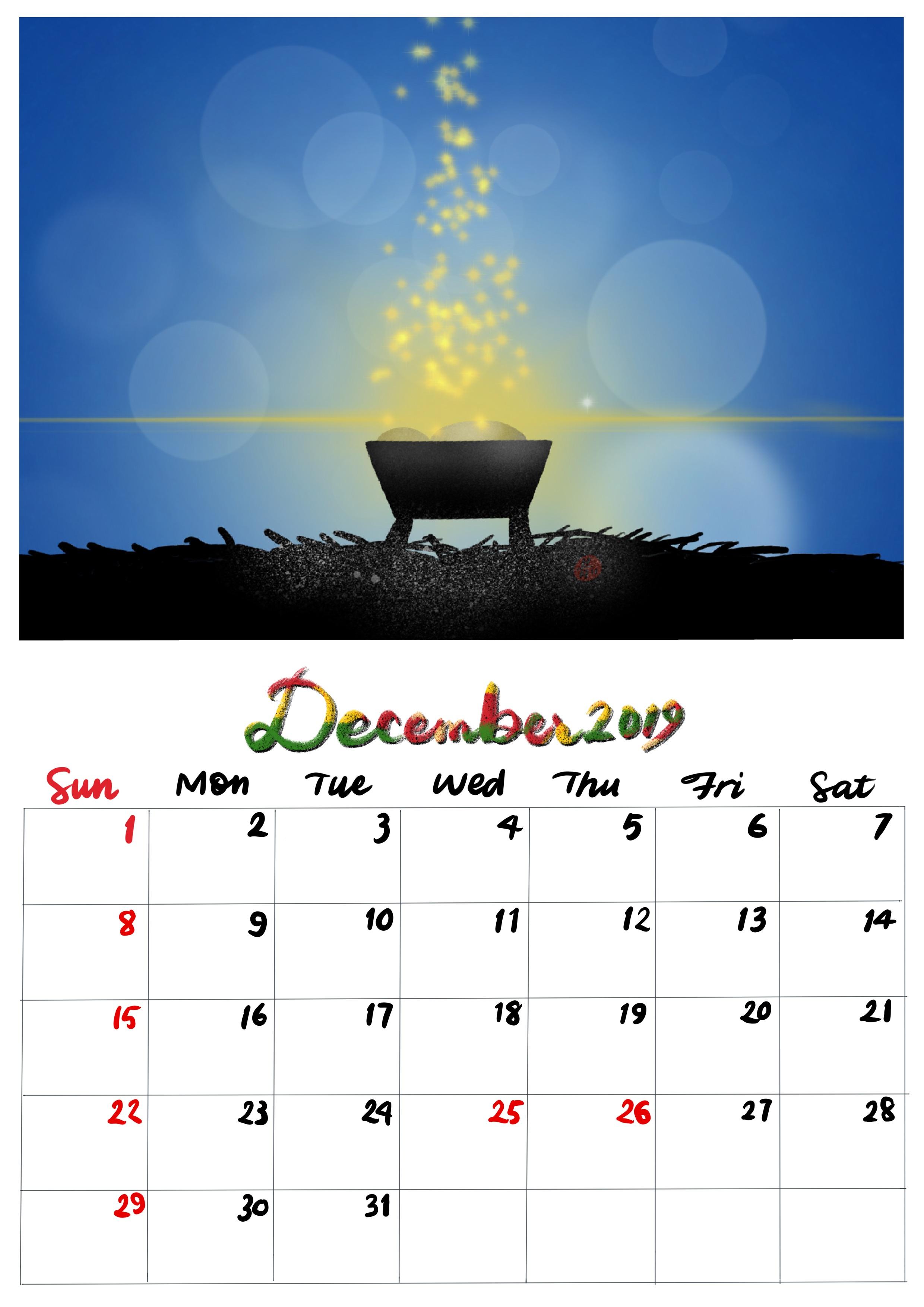 手繪月曆-2019年12月
